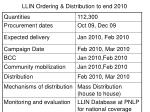 llin ordering distribution to end 2010