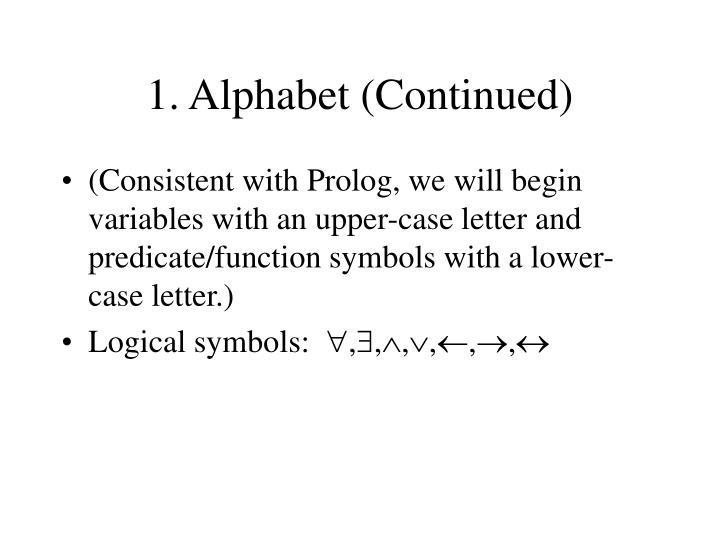 1. Alphabet (Continued)