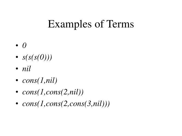 Examples of Terms