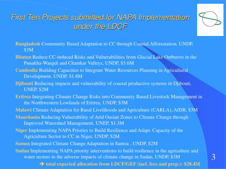 First ten projects submitted for napa implementation under the ldcf
