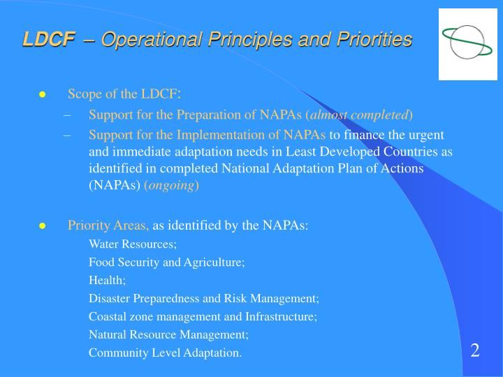 Ldcf operational principles and priorities