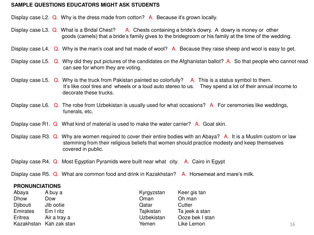 SAMPLE QUESTIONS EDUCATORS MIGHT ASK STUDENTS