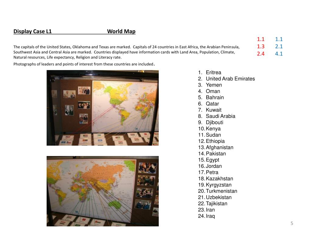 Display Case L1		World Map
