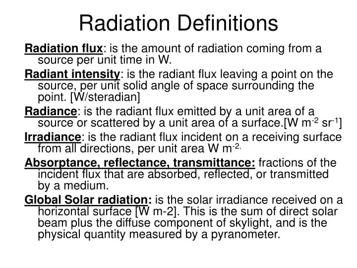 Radiation Definitions