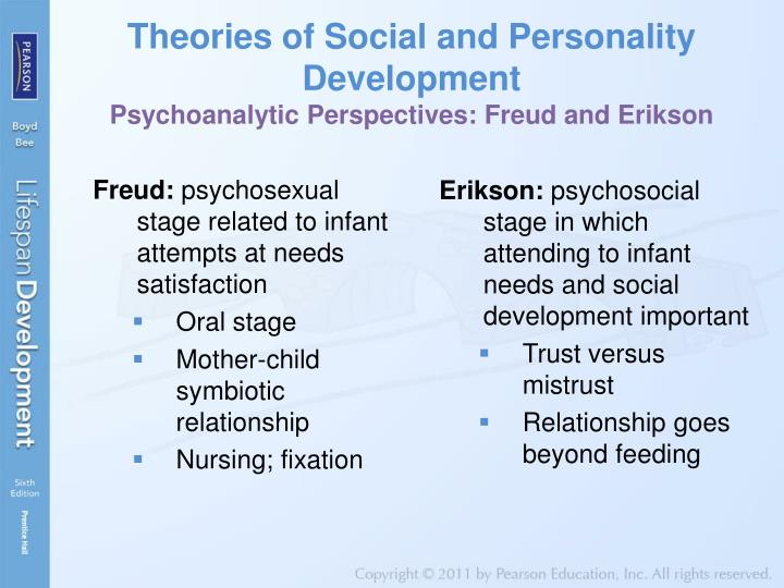 the psychological theories of freud and erikson on human development Erikson vs freud erikson and freud are two names that one cannot miss while talking about psychology sigmund freud is called the father of psychology in terms of theories, freud is known for his psychosexual theory, and erikson is known for his psychosocial theory though both believed that personality develops in a.