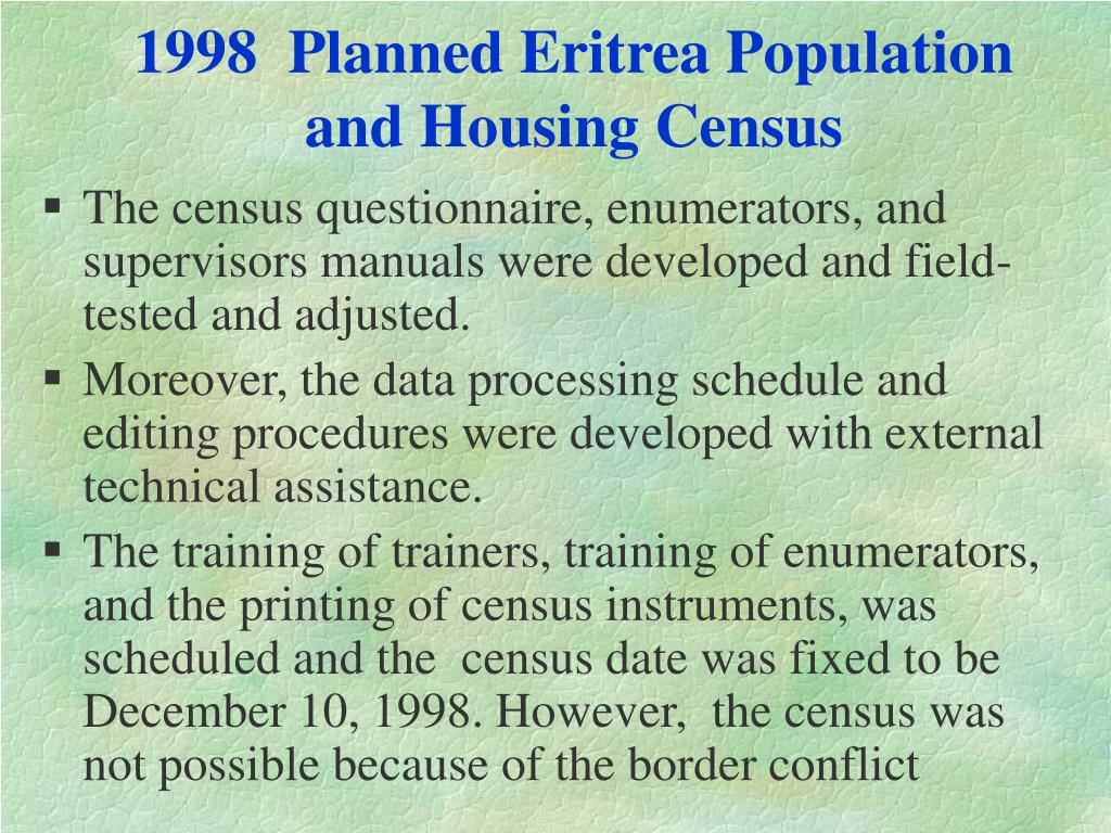1998  Planned Eritrea Population and Housing Census