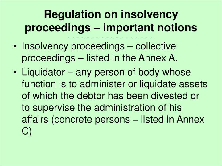Regulation on insolvency proceedings – important notions