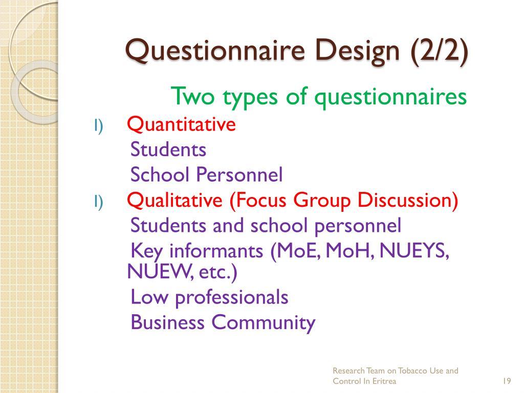 Questionnaire Design (2/2)
