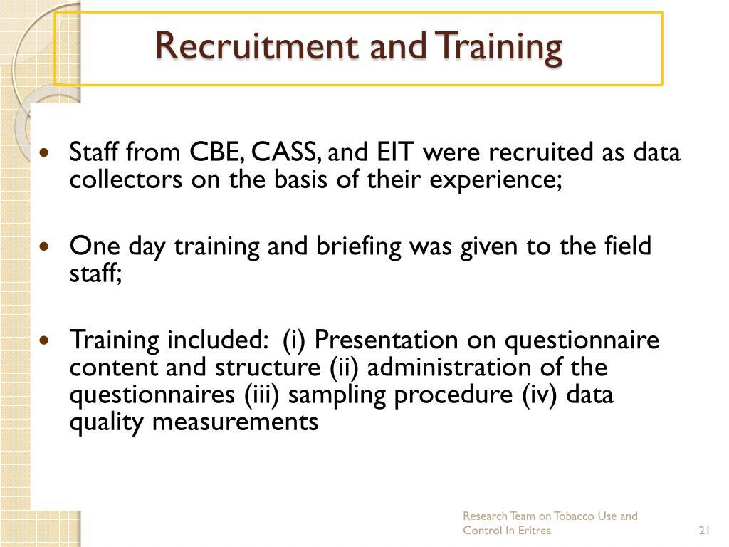 Recruitment and Training