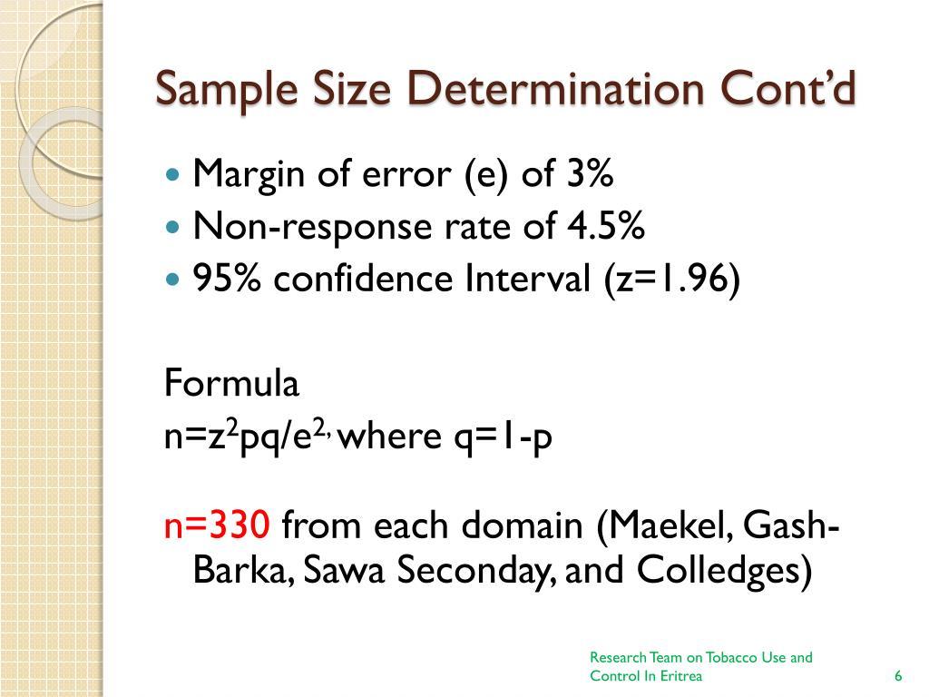 Sample Size Determination Cont'd