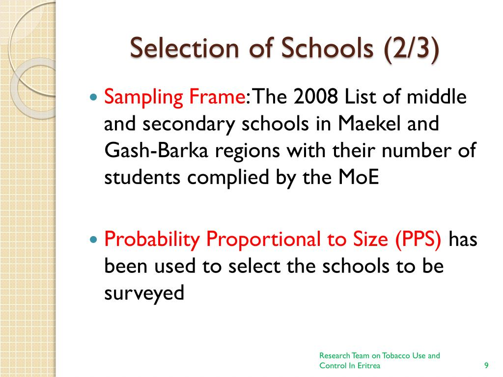 Selection of Schools (2/3)