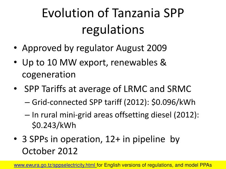 Evolution of Tanzania SPP regulations