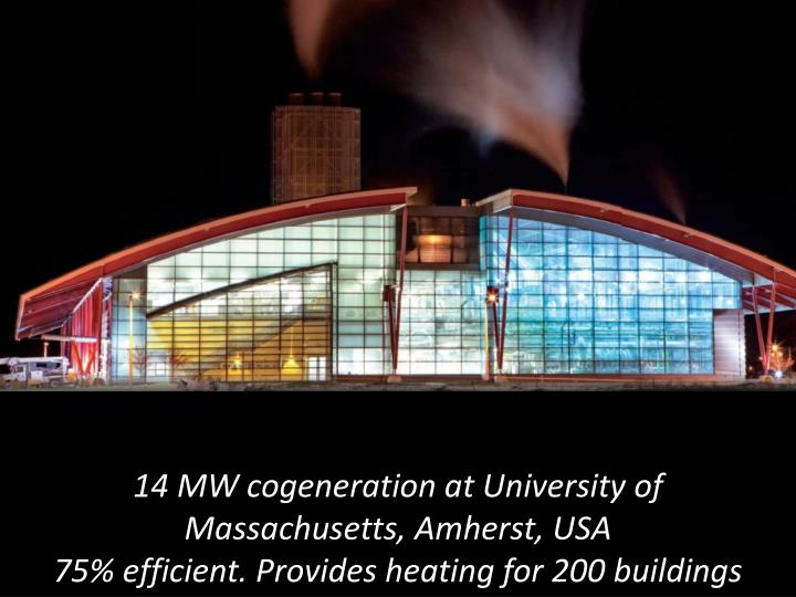 14 MW cogeneration at University of Massachusetts, Amherst, USA