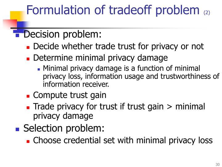 Formulation of tradeoff problem