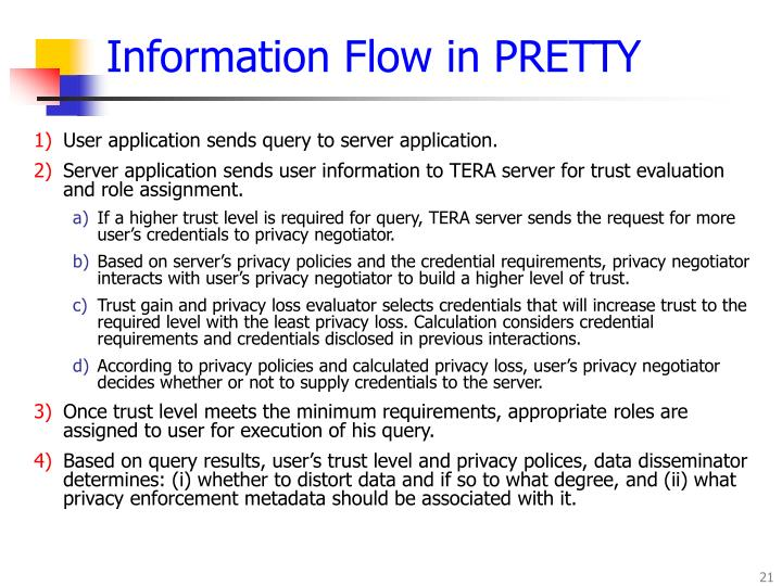 Information Flow in PRETTY