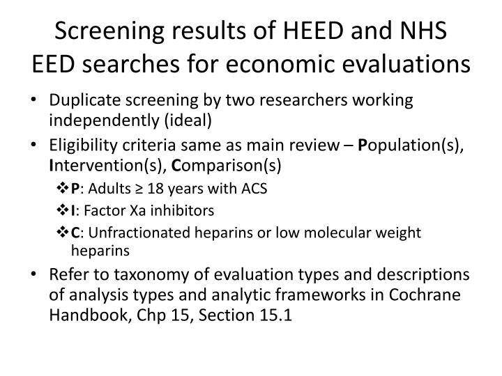 Screening results of HEED and NHS EED searches for economic evaluations
