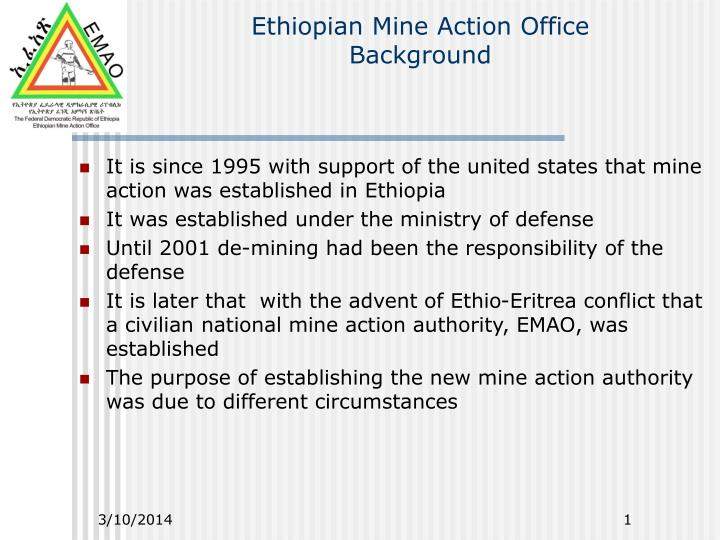 Ethiopian mine action office background