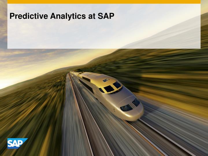 Predictive Analytics at SAP