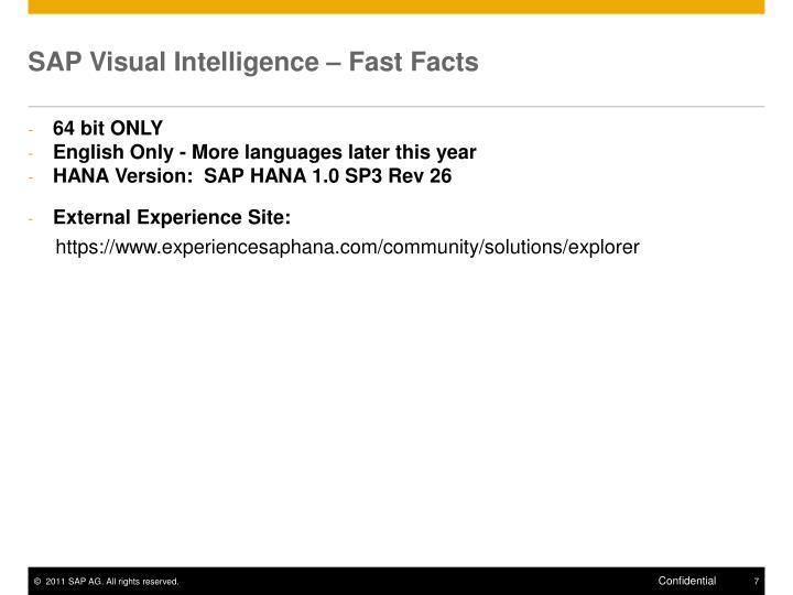 SAP Visual Intelligence – Fast Facts
