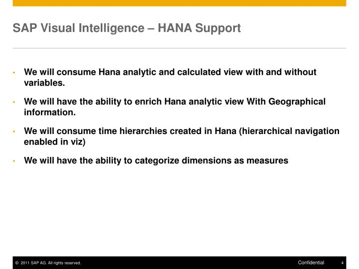 SAP Visual Intelligence – HANA Support