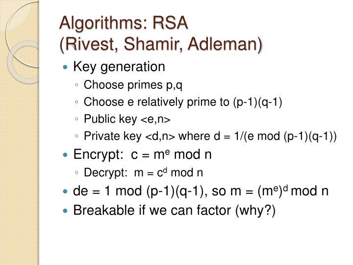 Algorithms: RSA