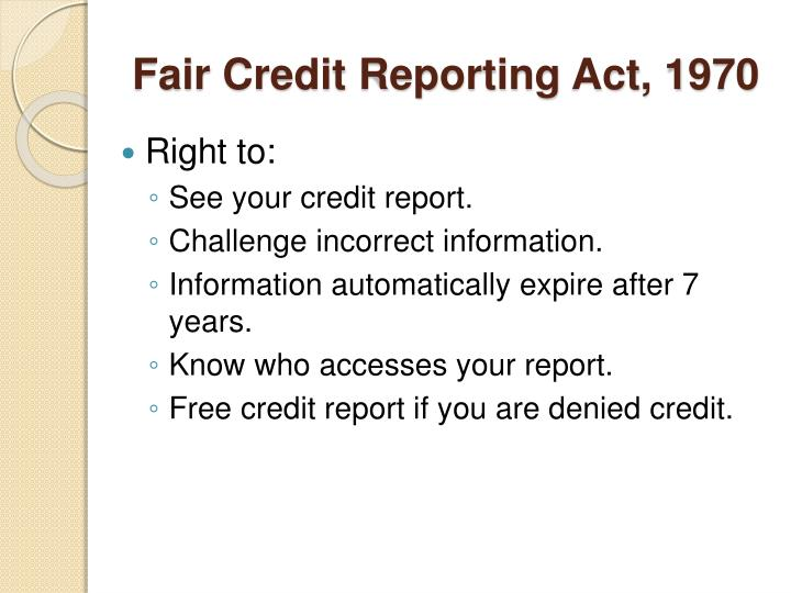 Fair Credit Reporting Act, 1970