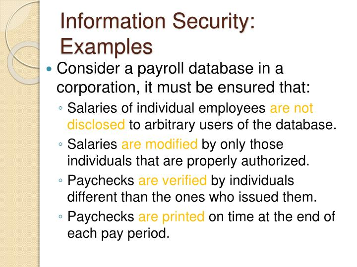 Information Security: Examples