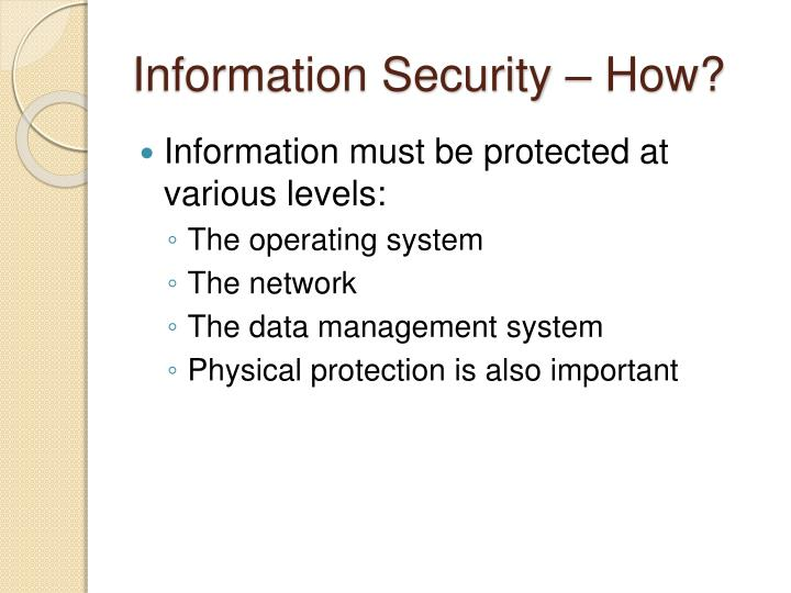 Information Security – How?