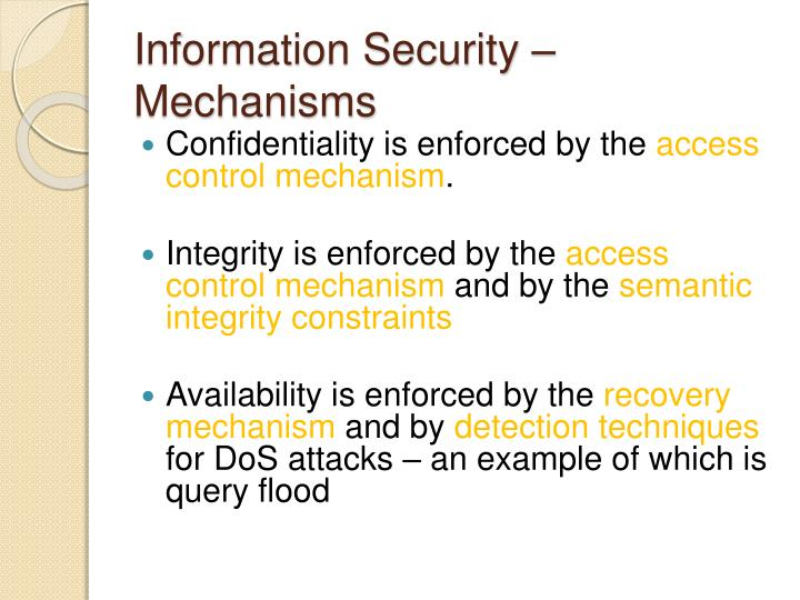 Information Security – Mechanisms