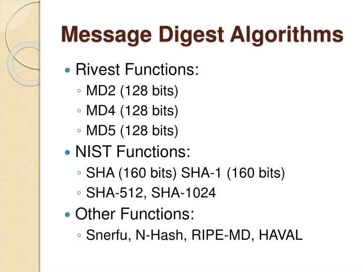 Message Digest Algorithms