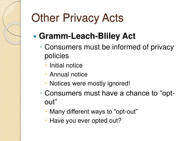 Other Privacy Acts