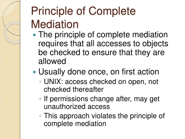 Principle of Complete Mediation