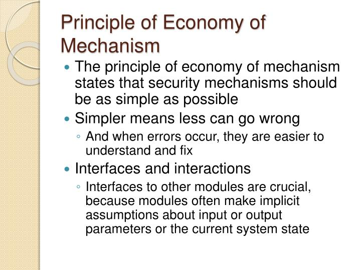 Principle of Economy of Mechanism
