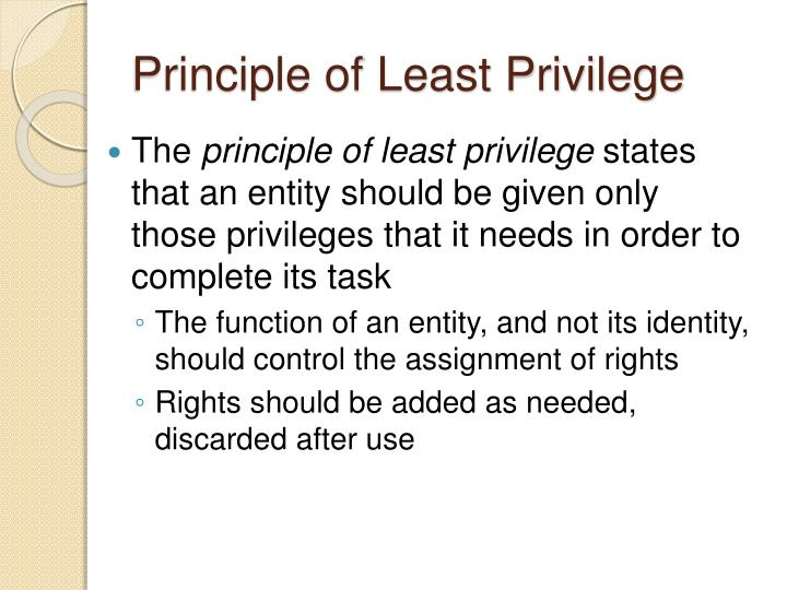 Principle of Least Privilege
