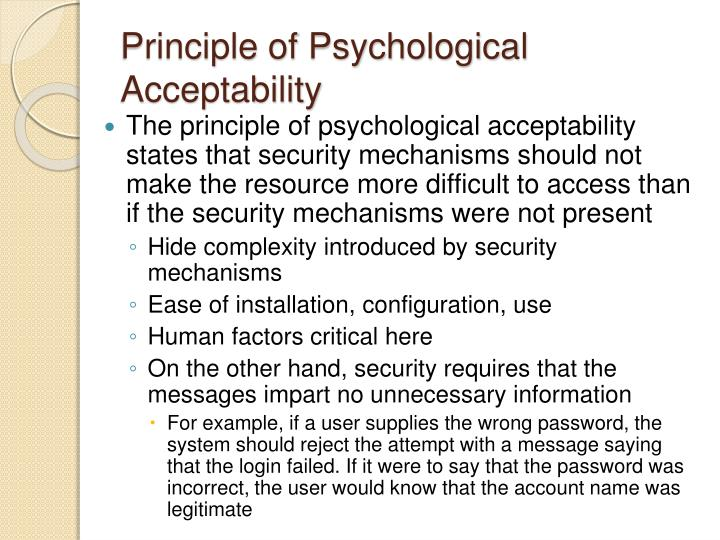 Principle of Psychological Acceptability