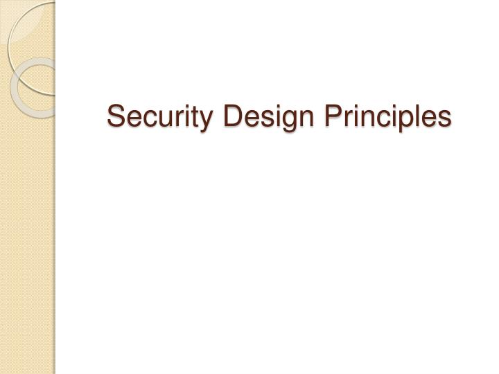 Security Design Principles