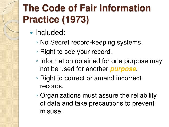 The Code of Fair Information Practice (1973)