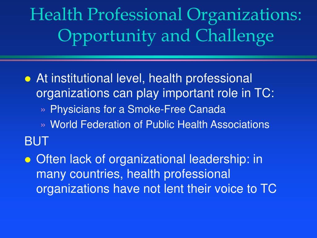 Health Professional Organizations: