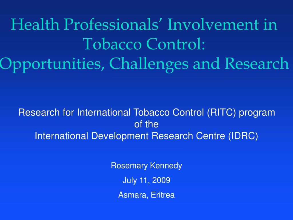 Health Professionals' Involvement in Tobacco Control: