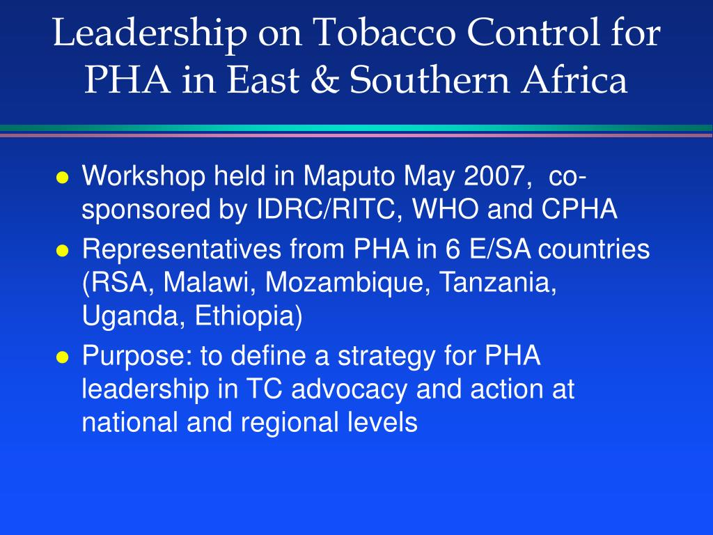 Leadership on Tobacco Control for PHA in East & Southern Africa