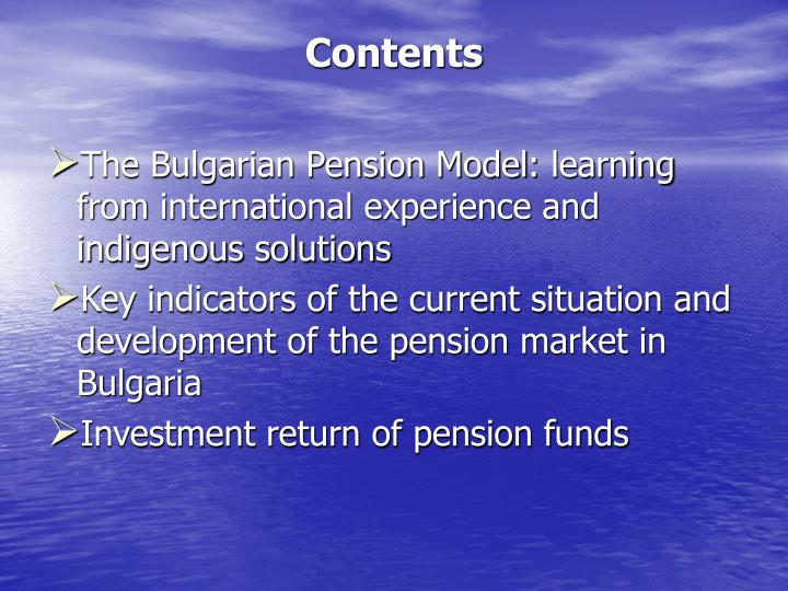 The Bulgarian Pension Model
