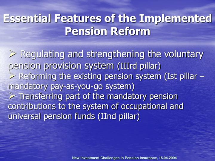 Regulating and strengthening the voluntary pension provision system