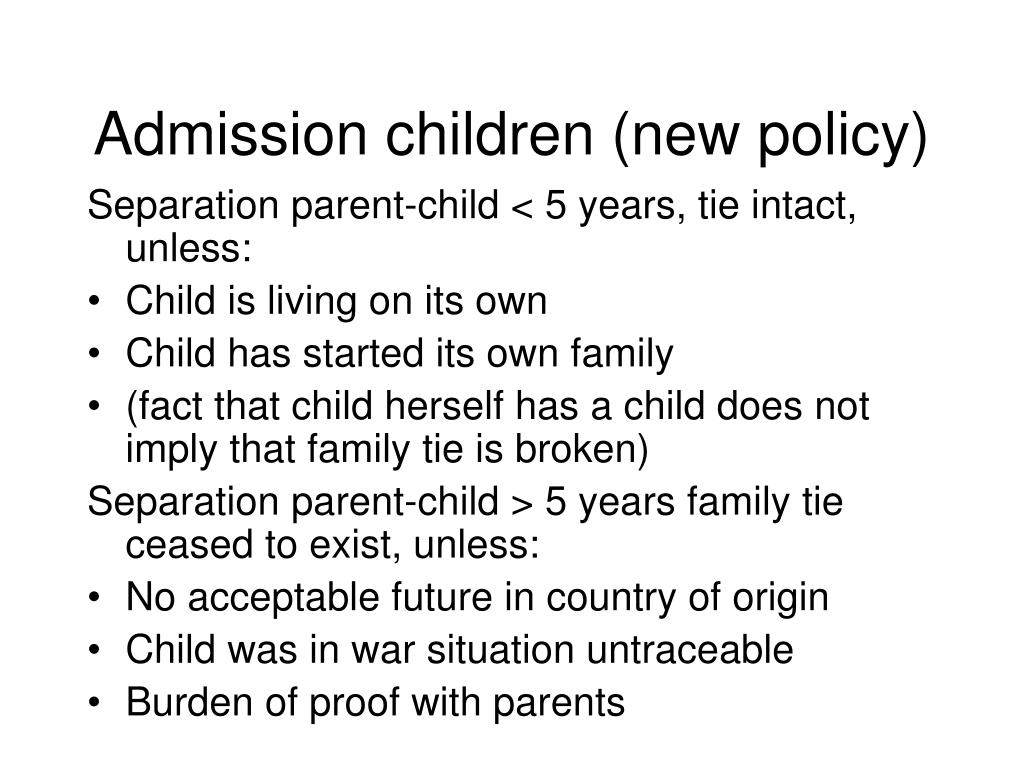 Admission children (new policy)