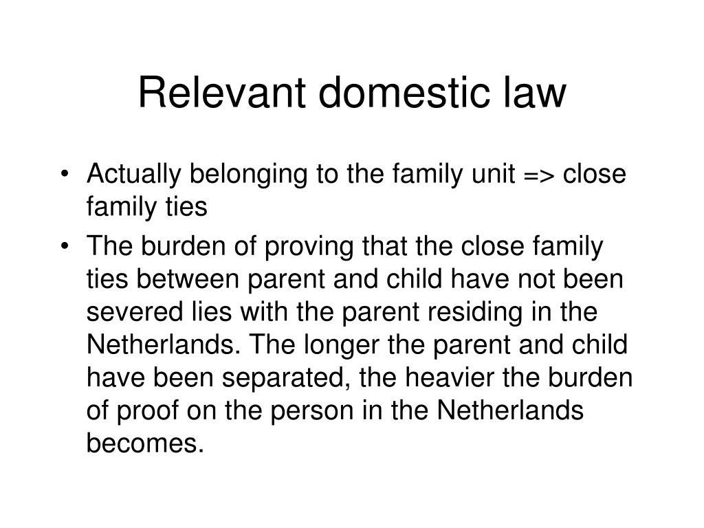 Relevant domestic law