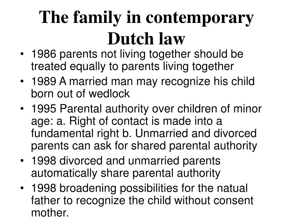 The family in contemporary Dutch law