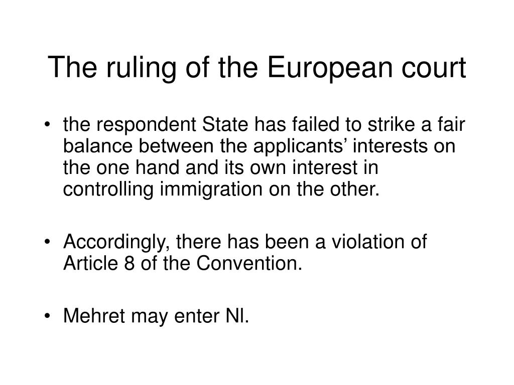 The ruling of the European court