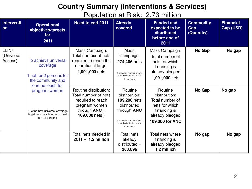 Country Summary (Interventions & Services)