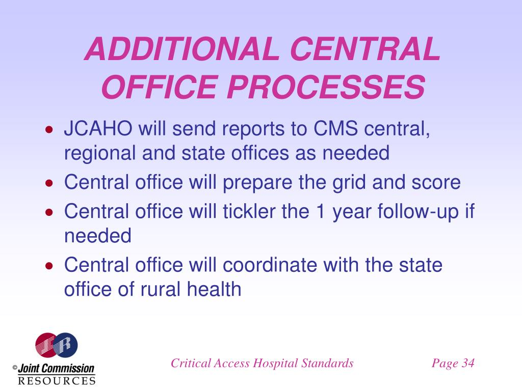ADDITIONAL CENTRAL OFFICE PROCESSES