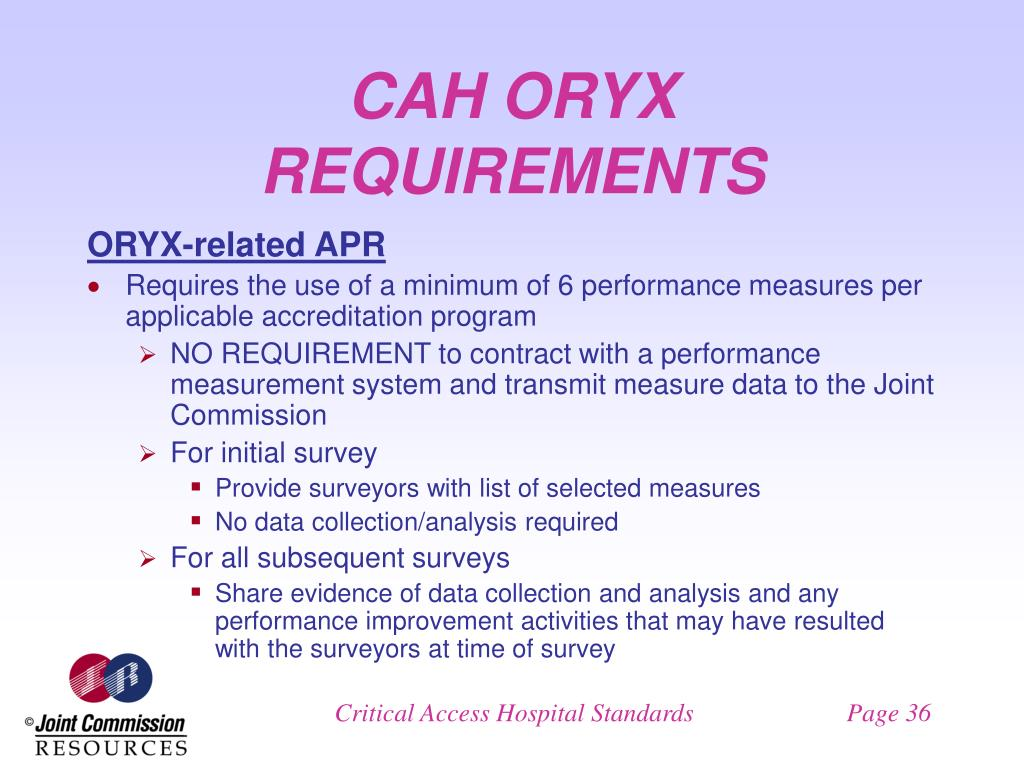 CAH ORYX REQUIREMENTS