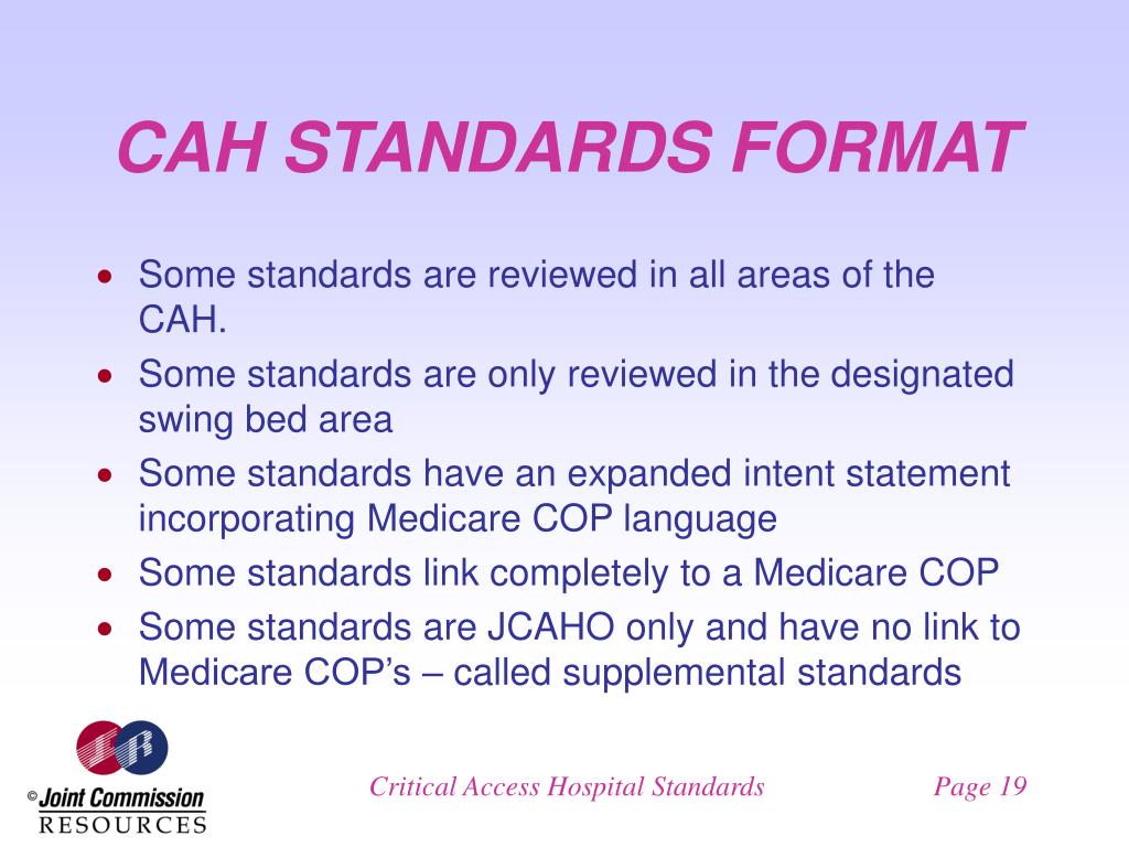 CAH STANDARDS FORMAT